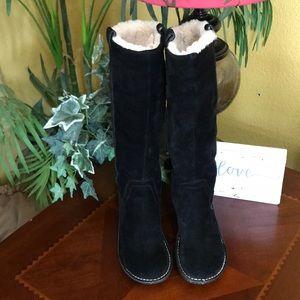 UGG Black Hartley Tall Zip Up Boots